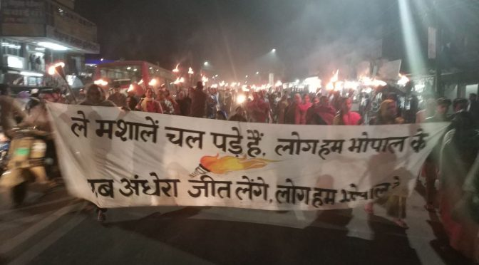 Bhopal survivors march with flaming torches on 33rd anniversary