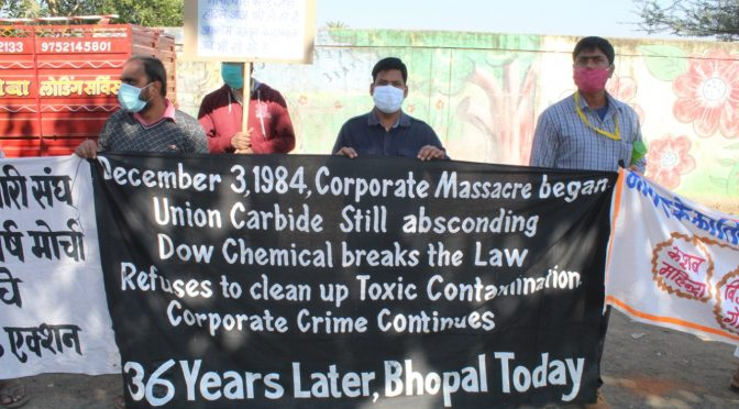 36th Anniversary: Survivors Condemn Dow Chemical, Governments of USA, India and Madhya Pradesh for Ongoing Damage to Health and Environment