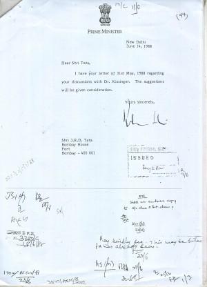 Rajiv Gandhis response to Kissingers advice June 14,1988