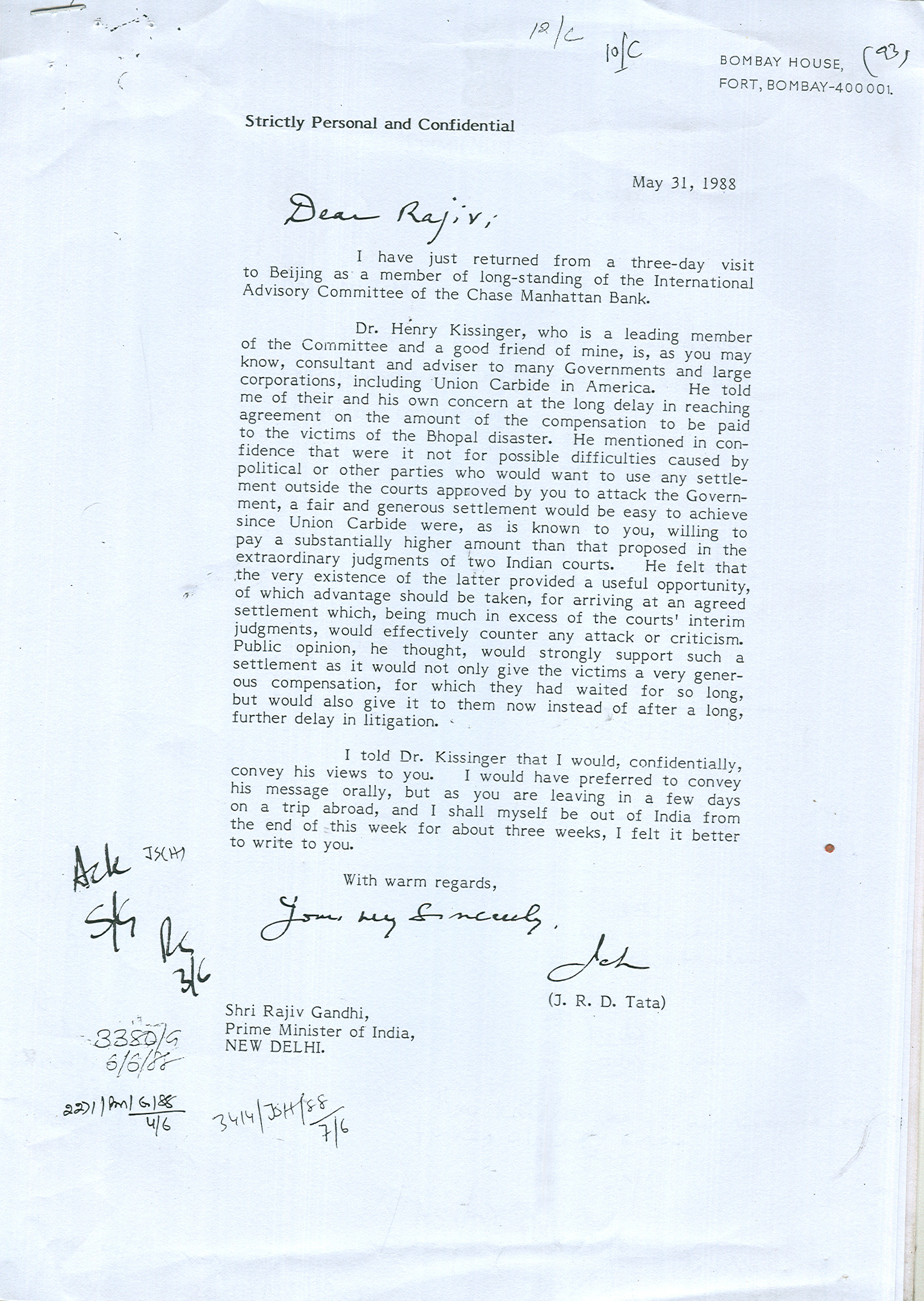 Kissingers msg to Rajiv Gandhi May 31, 1988