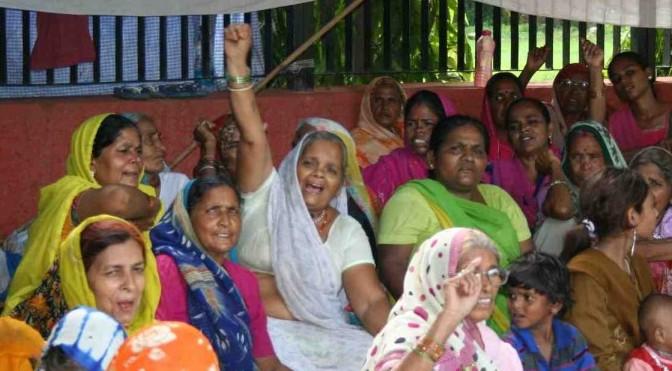 Women protesting happy